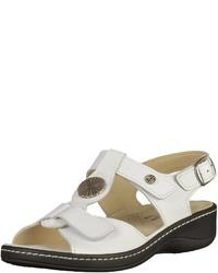 weiße flache Sandalen aus Leder von Hickersberger