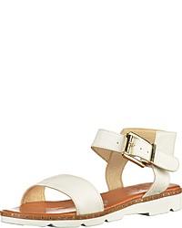 weiße flache Sandalen aus Leder von ILC