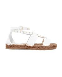 weiße flache Sandalen aus Leder von Jimmy Choo
