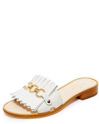 weiße flache Sandalen aus Leder von Kate Spade