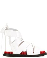 weiße flache Sandalen aus Leder von Kenzo
