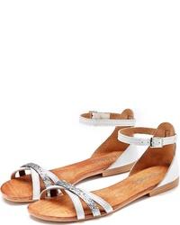 weiße flache Sandalen aus Leder von Lascana