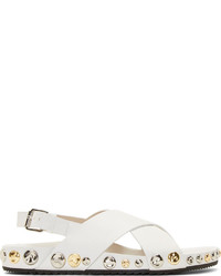 weiße flache Sandalen aus Leder von Marc Jacobs