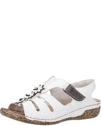 weiße flache Sandalen aus Leder von Rieker