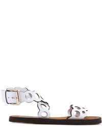weiße flache Sandalen aus Leder von Stella McCartney