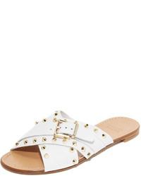 weiße flache Sandalen aus Leder von Stuart Weitzman