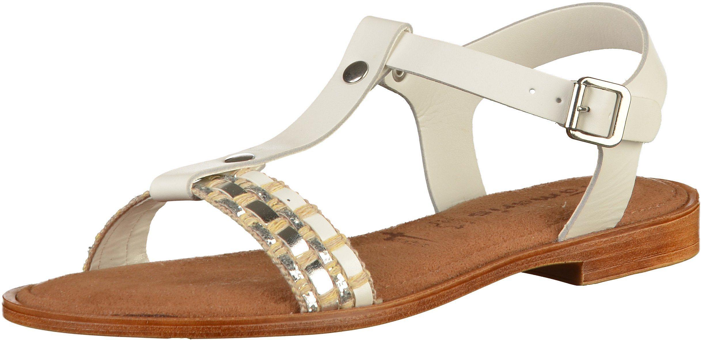 weiße flache Sandalen aus Leder von Tamaris