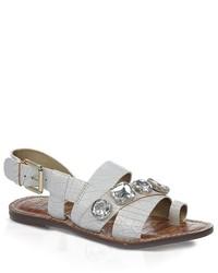 weiße flache Sandalen