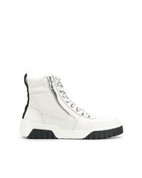 weiße flache Stiefel mit einer Schnürung aus Leder von Diesel