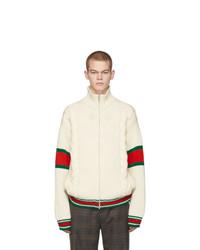 weiße Fleece-Bomberjacke von Gucci