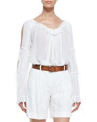 weiße Folklore Bluse mit Rüschen