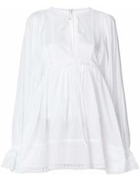weiße Folklore Bluse mit Rüschen von Dolce & Gabbana