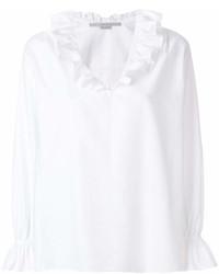 weiße Folklore Bluse mit Rüschen von Stella McCartney