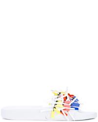weiße flache Sandalen aus Leder mit Fransen von MSGM