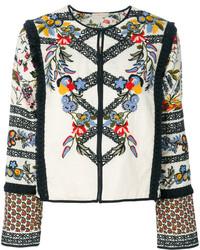 weiße Fransen Jacke von Tory Burch