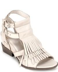 weiße Fransen Leder Sandaletten