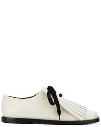 weiße Lederschnürschuhe mit Fransen von Marni