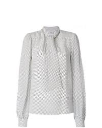 weiße gepunktete Langarmbluse von Maison Margiela