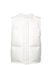 weiße gesteppte ärmellose Jacke