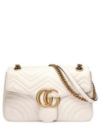 weiße gesteppte Satchel-Tasche aus Leder