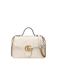 weiße gesteppte Satchel-Tasche aus Leder von Gucci