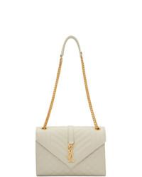 weiße gesteppte Satchel-Tasche aus Leder von Saint Laurent