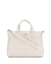 weiße gesteppte Shopper Tasche aus Leder von Love Moschino