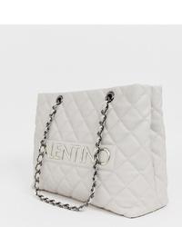 weiße gesteppte Shopper Tasche aus Leder von Valentino by Mario Valentino