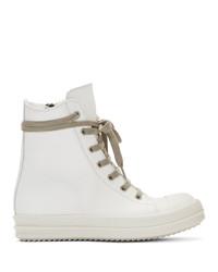 weiße hohe Sneakers aus Leder von Rick Owens