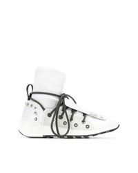 weiße hohe Sneakers aus Leder von Sergio Rossi