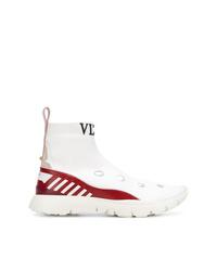weiße hohe Sneakers aus Leder von Valentino