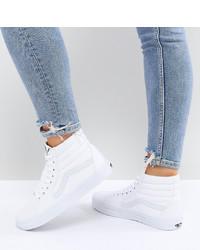 Modische weiße hohe Sneakers aus Leder für Damen von Vans
