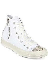 weiße hohe Sneakers aus Segeltuch