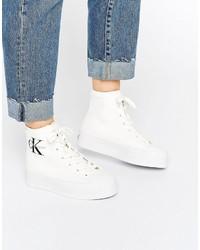 weiße hohe Sneakers aus Segeltuch von Calvin Klein Jeans