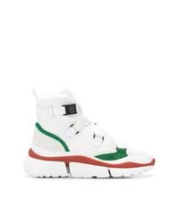 weiße hohe Sneakers aus Segeltuch von Chloé