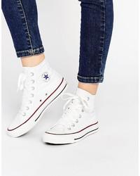 weiße hohe Sneakers aus Segeltuch von Converse