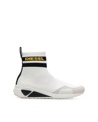weiße hohe Sneakers aus Segeltuch von Diesel