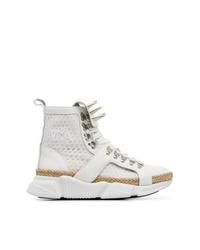 weiße hohe Sneakers aus Segeltuch von MARQUES ALMEIDA
