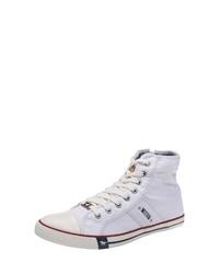 weiße hohe Sneakers aus Segeltuch von Mustang