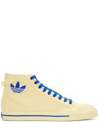 weiße hohe Sneakers aus Segeltuch von Raf Simons