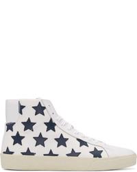weiße hohe Sneakers aus Segeltuch von Saint Laurent