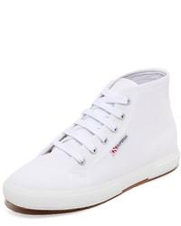 weiße hohe Sneakers aus Segeltuch von Superga