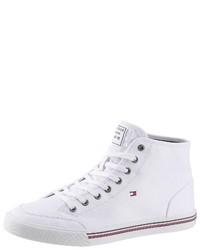 weiße hohe Sneakers aus Segeltuch von Tommy Hilfiger