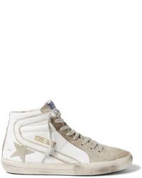 weiße hohe Sneakers aus Wildleder