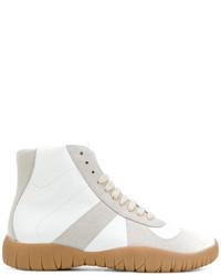 weiße hohe Sneakers aus Wildleder von Maison Margiela