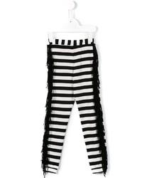 weiße horizontal gestreifte Leggings