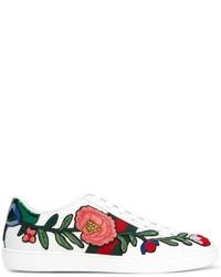 weiße horizontal gestreifte niedrige Sneakers von Gucci