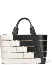 weiße horizontal gestreifte Shopper Tasche aus Leder von Balenciaga