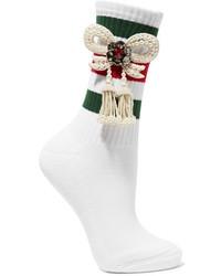 weiße horizontal gestreifte Socken von Gucci
