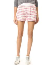 weiße horizontal gestreifte Tweed Shorts von Moschino